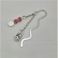 Silver Bookmark with Coral & Mother of Pearl Beaded Charm and Strawberry Charm
