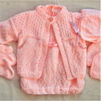 5 Piece Knitted Dress Set for a Baby Girl, Girls Outfit, Baby Shower Gift