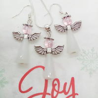 Christmas Angel Necklace and Earrings Jewellery Set, Stocking Filler
