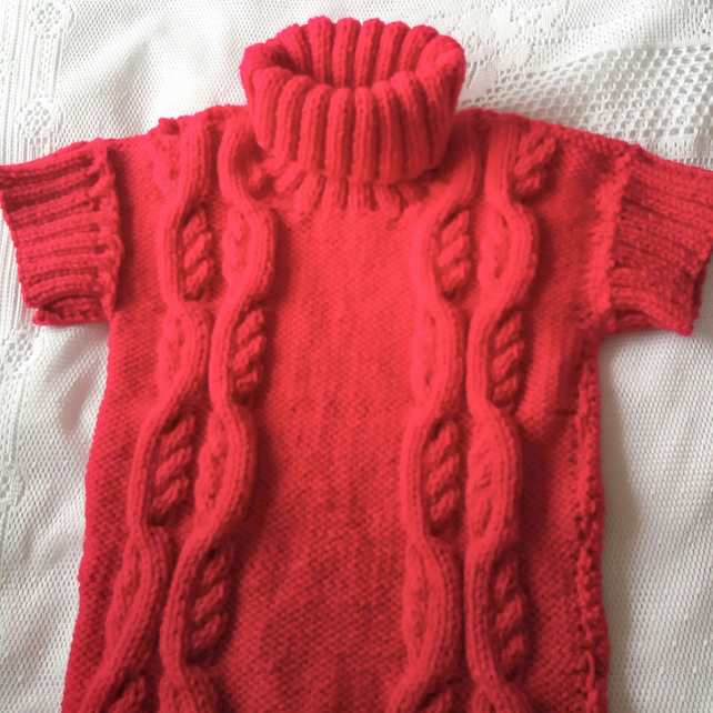 Girl's Red Cabled Short Sleeved Jumper, Knitted Roll Neck Jumper