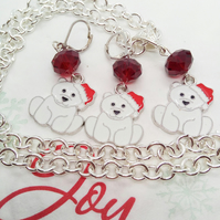 White Enamel Dog Charm With A Red Santa Hat Necklace and Earrings Set
