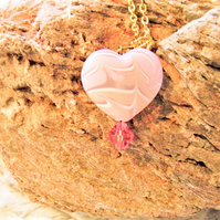 Large Pink Heart Pendant on a Gold Plated Chain