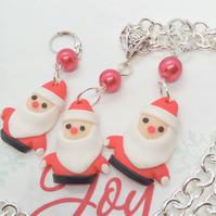 Red and White Fimo Clay Santa Charm With A Red Pearl Bead Necklace and Earrings