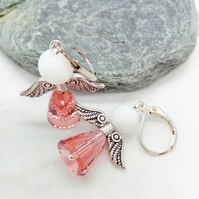 Pink Swarovski Element Christmas Angel Earrings, Secret Santa Gift