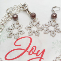 White Enamel Snowflake Charm With A Mink Pearl Necklace and Earrings Set