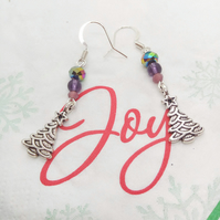 Purple and Blue Earrings for Pierced Ears with a Silver Christmas Tree Charm