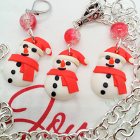 Fimo Clay Snowman and A Red Crackle Bead Necklace and Earrings Set, Secret Santa