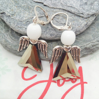 Silver Swarovski Element Christmas Angel and White Glass Bead Earrings