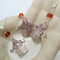 Santa Stuck in the Chimney Charm And A Topaz Crystal Necklace and Earrings