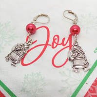 Silver Santa Charm with a Red Glass Pearl Bead  Earrings, Secret Santa