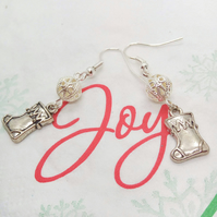 Silver Plated Christmas Stocking Charm and Silver Filigree Bead Earrings