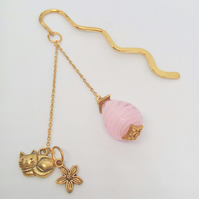 Beaded Bookmark with Gold Cat and Flower Charms and Pink Glass Bead