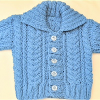 Knitted Unisex Cabled Cardigan with a Collar, Baby Shower Gift, New Baby Gift