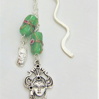 Silver plated Bookmark With Green Lampwork Beads and Silver Shoe and Mask Charms