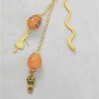 Gold Bookmark with Ballerina and Slipper Charms and Amber Beads,