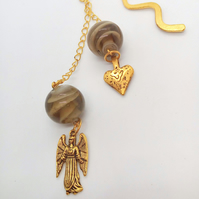 Gold Plated Bookmark With Brown Swirl Beads And Angel and Heart Charms