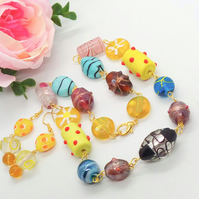 Multi Coloured Rosary Style Glass Lampwork Beaded Necklace and Earrings Set