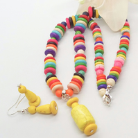 Multi Coloured Dyed Howlite Necklace with Yellow Pendant and Earrings Set