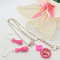 Pink Dyed Howlite Ban The Bomb and Diamond Shaped Pendant and Earrings