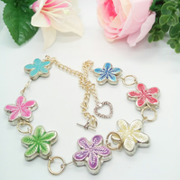 Multi Coloured Metal Flower  and and Chain Necklace, Gift for Her