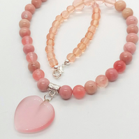 Pale Pink Glass Heart Pendant on a Pink Glass Bead Necklace, Gift for Her