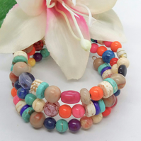 Multi Coloured Glass and Semi Precious Bead Memory Wire Cuff Bracelet