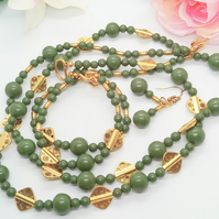 2 Strand Green Jade and Gold Plated Spacer Beads 3 Piece Jewellery Set