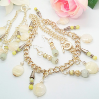 Honey Green and Lime Jade and Silver Plated Chain Jewellery Set with Silver Bead