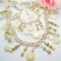 Green Honey Yellow and Lime Jade and Silver Plated Chain Jewellery Set