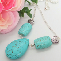 Turquoise Beads and Silver Plated Hearts Pendant on a Silver Chain Necklace