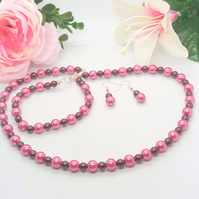 Fuchsia Pink and Chocolate Brown Pearl Jewellery Set, Gift for Her