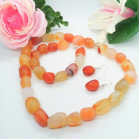 Red  and Pale Carnelian Chunky Nugget Bead 3 Piece Jewellery Set, Gift for Her