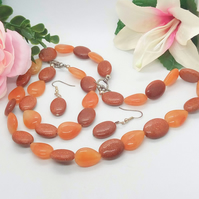 Golden Sunstone and Amber Glass Bead 3 Piece Jewellery Set, Gift for Her