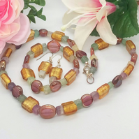 Amber Green and Purple Glass Bead 3 Piece Jewellery Set, Gift for Her