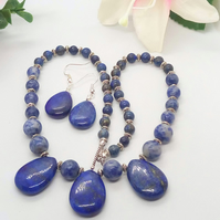 Lapis Lazuli Round and Teardrop Beads and Silver Spacer Beads Jewellery Set