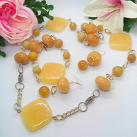 Honey Jade and Silver Plated Connectors Jewellery Set, Jewellery Gift for Her