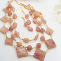 3 Strand Raspberry Quartz and Gold Plated Chain Jewellery Set, Gift for Her