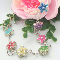 Small Multi Coloured Metal Flower and Chain Necklace, Jewellery Gift for Her
