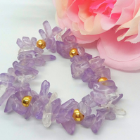 Lilac and Clear Quartz Chip Bead and Gold Plated Beads Stretch Bracelet
