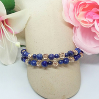 Lapis Lazuli and Silver Plated Flower Spacers Cuff Bracelet, Gift for Her