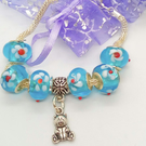 Blue Lampwork Bead and Silver Teddy Charm on Silver Mesh Bracelet, Gift for Her