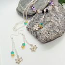 Multi Coloured Crystal Bead and Chain Jewellery Set With Silver Flower Charms