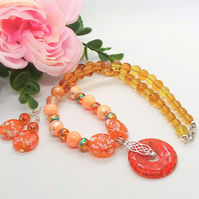 Orange Yellow and Topaz Beaded Necklace with Millefiori Pendant and Earrings Set
