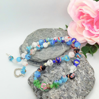 Shades of Blue Green and White Millefiori Bead Necklace, Summer Necklace