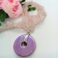 Iridescent Lilac Ceramic Donut Pendant Necklace, Rose Quartz Necklace