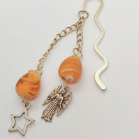 Silver Bookmark with Amber Beads and Angel and Star Charms, Teacher's Gift