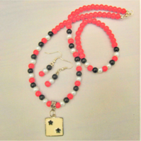SALE - Red Black and White Pearl Jewellery Set with Enamel Pendant, Gift for Her