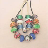 Multi Coloured Lampwork Bead 2 Piece Jewellery Set, Jewellery Gift for Her