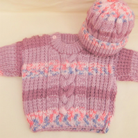 Cabled Baby Jumper and Hat Set, New Baby Gift, Baby Shower Gift