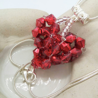 Personalised Birthstone Crystal Heart Pendant on a Sterling Silver Snake Chain